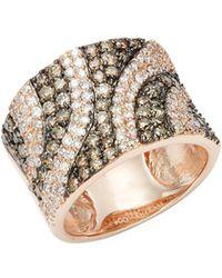 Effy - White & Back Diamonds 14k Rose Gold Ring - Lyst
