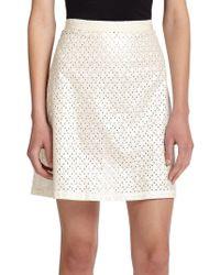 SUNO - Eyelet Back-pleat Skirt - Lyst