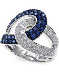 Effy - Royale Bleu 14k White Gold Sapphire And Diamond Ring - Lyst