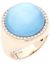 Roberto Coin - Pearl, Diamond, Topaz, Lapiz And 18k Rose Gold Cocktail Ring - Lyst