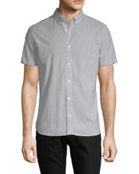 J.Lindeberg - Striped Short-sleeve Cotton Button-down Shirt - Lyst