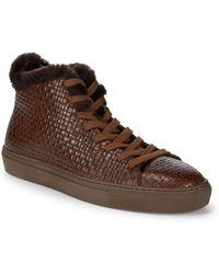Aquatalia - Alonzo Sheep Fur And Leather Embossed Platform Trainers - Lyst