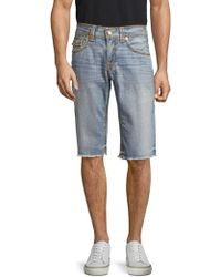 True Religion | Frayed Cotton Denim Shorts | Lyst