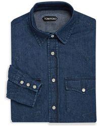 Tom Ford - Classic Denim Dress Shirt - Lyst