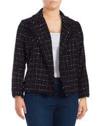 Vince Camuto - Plus Spring Windowpane Tweed Jacket - Lyst