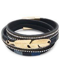 Panacea - Feather & Crystal Embellished Leather Wrap Bracelet - Lyst