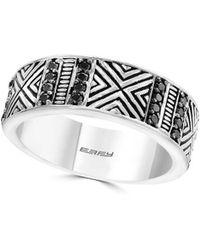 Effy - Sterling Silver Black Diamond 0.45 Tcw Engraved Ring - Lyst