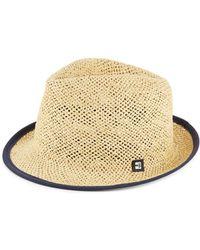 Block Headwear - Suede-tipped Open Weave Straw Trilby - Lyst
