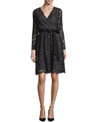 Donna Ricco - Embroidered Lace Wrap Dress - Lyst