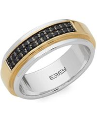 Effy - Black Sapphire And Sterling Silver Pavé Ring - Lyst