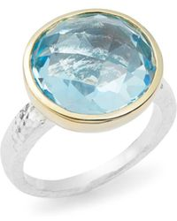 Gurhan - Faceted Blue Topaz, 24k Gold-plated & Sterling Silver Ring - Lyst