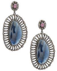 Bavna - Champagne Diamond, Sapphires & Sterling Silver Champ Rose Earrings - Lyst