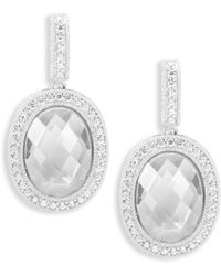 Freida Rothman - Classic Cubic Zirconia And Sterling Silver Two Side Pave Drop Earrings - Lyst