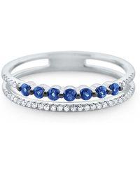 KC Designs - Blue Sapphire & Diamond White Gold Ring - Lyst