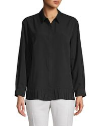 French Connection Pleated High-low Button-down Shirt - Black