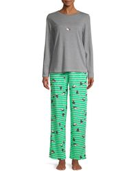 Hue - Two-piece Penguin Shimmer Knit Pyjamas - Lyst