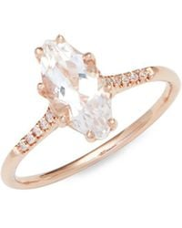 Suzanne Kalan - White Topaz, Diamonds And 14k Rose Gold Ring - Lyst
