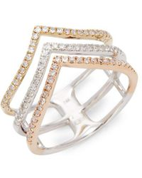 Effy - 14k Tri-tone Gold Diamond Stack Ring - Lyst