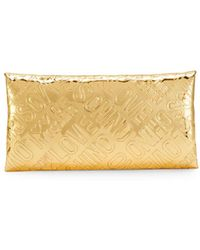 Love Moschino - Embossed Logo Metallic Patent Clutch - Lyst