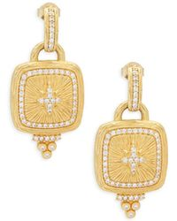 Freida Rothman - Crystal And Sterling Silver Pavé Star Shield Drop Earrings - Lyst