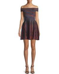 Ronny Kobo - Sadie Striped Off-the-shoulder Mini Dress - Lyst