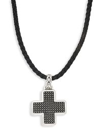 John Hardy - Leather & Sterling Silver Cross Pendant Necklace - Lyst