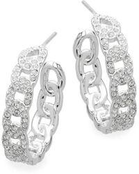 Adriana Orsini - Crystal Chain-like Hoop Earrings - Lyst