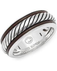 Effy - Leather And Sterling Silver Band Ring - Lyst