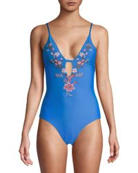 Ella Moss - One-piece Floral-embroidered Swimsuit - Lyst