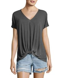 C&C California - Knotted Short-sleeve Top - Lyst