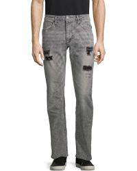 Buffalo David Bitton - Ash Distressed Straight-leg Jeans - Lyst