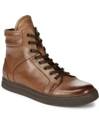 Kenneth Cole - ??ound Toe Leather Ankle Boots - Lyst