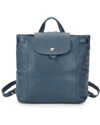 Longchamp - Square Leather Backpack - Lyst