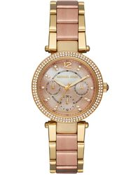 43e474f514db Michael Kors - Mini Parker Two-tone Stainless Steel Bracelet Watch - Lyst