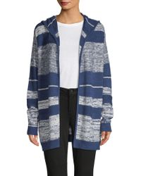 NYDJ - Striped Hooded Cotton Cardigan - Lyst