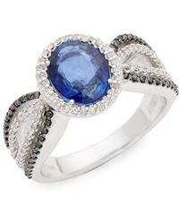 Effy - 14k White Gold, Natural Diffused Ceylon Sapphire, Black Diamond & Diamond Ring - Lyst