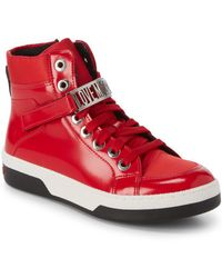 Love Moschino - High-top Leather Logo Sneakers - Lyst