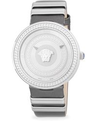 Versace - Textured Stainless Steel And Leather-strap Watch - Lyst