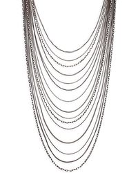 Ava & Aiden - Tri-tone Multi Layer Curb Chain Necklace - Lyst