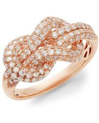 Effy - 14k Rose Gold & Diamond Knot Ring - Lyst