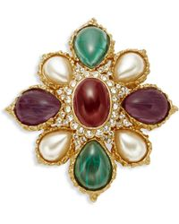 Ben-Amun - Crystal And Faux Pearl Brooch - Lyst
