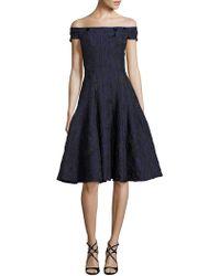 Carmen Marc Valvo - Off-the-shoulder Brocade Dress - Lyst