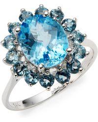 Effy - Blue Topaz & 14k White Gold Ring - Lyst