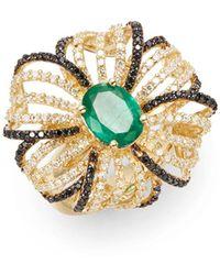 Effy - Final Call Diamond, Emerald & 14k Yellow Gold Flower Ring - Lyst