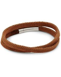 Tateossian - Sterling Silver And Leather Wrap Bracelet - Lyst