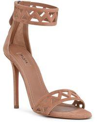 Alaïa - Beige Suede Laser-cut Sandals - Lyst