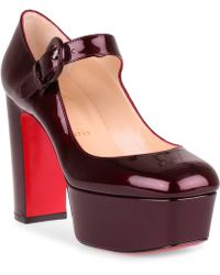 911bb63299ee Christian Louboutin - Mj Goes High Burgundy Patent Leather Pump - Lyst