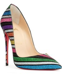 15e0d61d202f Christian Louboutin - So Kate 120 Stripy Glitter Suede Pumps - Lyst