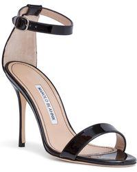 Manolo Blahnik - Chaos 105 Black Patent Leather Sandals - Lyst