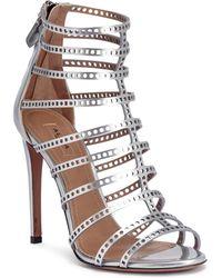 Alaïa - Metallic Silver Laser-cut Leather Sandals - Lyst
